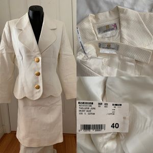 GIVENCHY White Skirt Suit Sz40